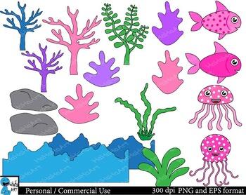 Pink Sea animals Digital Clip Art Graphics 40 images cod120