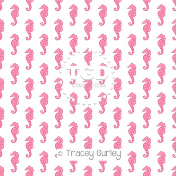 Pink Seahorse Pattern Repeat on White digital paper Printable Tracey Gurley