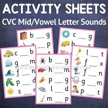 Pink Series Middle/Vowel Letter Sounds Activity Sheets