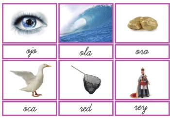 Pink Series Montessori BLACK Cursive Reading 3 Part Cards in Spanish