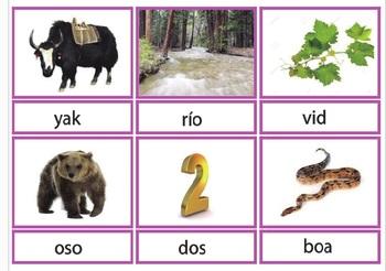 Pink Series Montessori BLACK Script 3 Part Cards in Spanish