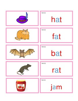Pink Series matching cards with pictures + spelling word lists