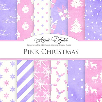 Pink Shabby Christmas Digital Paper patterns watercolor background snow reindeer