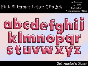 Pink Shimmering Alphabet Letters, Numbers, and Symbols Bundle