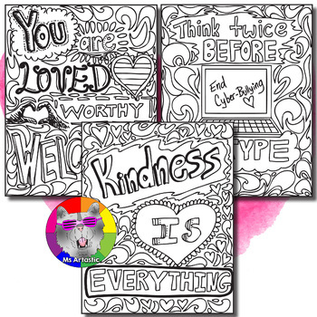 Pink Shirt Day, Anti-Bullying Awareness, Zen Doodle Coloring Pages