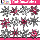 Pink Snowflake Clip Art {Weather Graphics for Winter and S