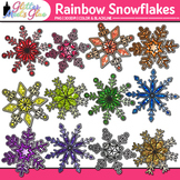 Rainbow Snowflakes Clip Art {Weather Graphics for Winter a