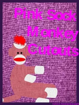 Pink Sock Monkey Cutouts