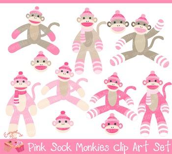 Pink Sock Monkeys Clip Art Set
