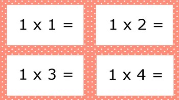 Pink Spotty Times Tables Flash Cards