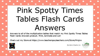 Pink Spotty Times Tables Flash Cards Answers