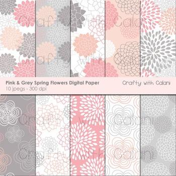 Pink Spring Flower Pattern Digital Paper Set