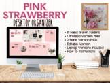 Pink Strawberry Boho Desktop Organizer