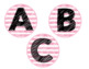 Pink Stripe Library Labels