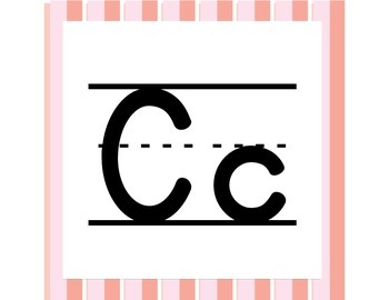 Pink Stripes ABC Word Wall Letters