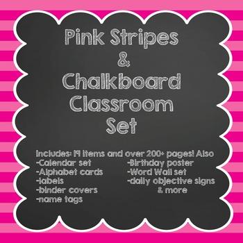 Pink Stripes & Chalkboard Classroom Set