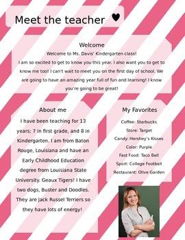 Pink Stripes Meet The Teacher Template **Editable**