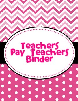 Pink Teachers Pay Teachers Binder Cover
