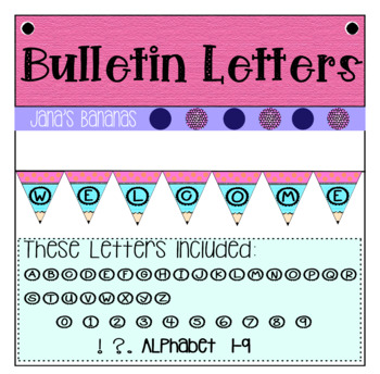 Bulletin Board Letters: Pink & Turquoise Pencil