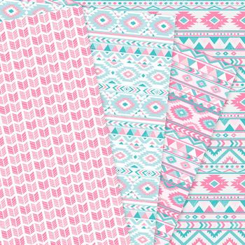 Pink & Teal blue aztec Digital Paper arrows tribal patterns scrapbook background