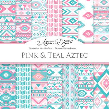 Pink & Teal blue aztec Digital Paper arrows tribal pattern