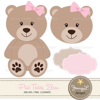 SET: Pink Teddy Bear Digital papers, Teddy Bear clipart