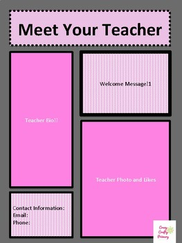 Pink Themed Meet the Teacher Template