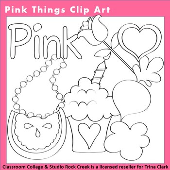 Pink Things Clip Art Line Drawing B/W  personal & commercial use