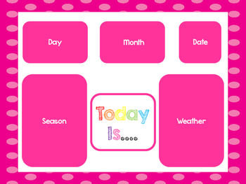 Pink Today Is....Mat, Cards, Labels. Preschool-Kindergarten Circle Time.