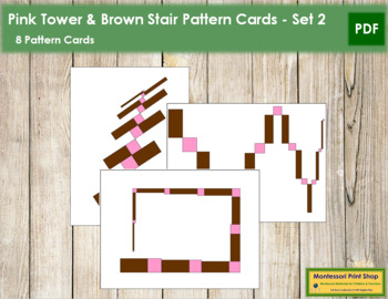 Pink Tower and Broad Stair Pattern Cards - Set 2