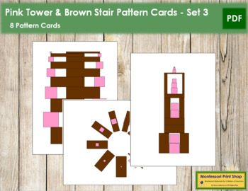 Pink Tower and Broad Stair Pattern Cards - Set 3