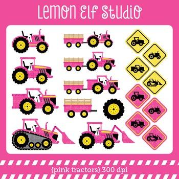 Pink Tractors-Digital Clipart (LES.CL57A)