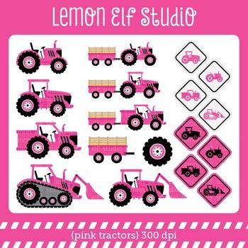Pink Tractors-Digital Clipart (LES.CL57B)