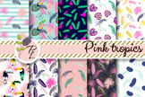 Pink Tropics Seamless Pattern Set. Digital paper pack.
