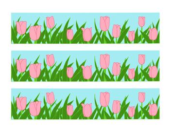 Pink Tulip Bulletin Board Border Printable Full Color PDF