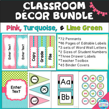 Pink, Turquoise, and Lime Green Decor Bundle