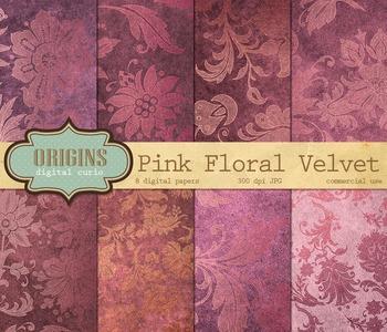 Pink Velvet Gold Floral Damask Digital Paper Scrapbooking Backgrounds