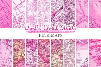 Pink Vintage Maps digital paper, Old Maps, Modern Maps, Historical Maps