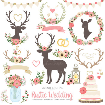 Pink Vintage Rustic Wedding Clipart - Deer and Flower Wreath Graphics