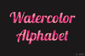 Pink Watercolor Alphabet Clip Art Metallic Look 81 PNG Letters Numbers S10