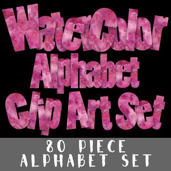 Pink Watercolor Alphabet Letters - Alphabet Clip Art