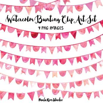 Pink Watercolor Bunting Clip Art