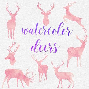 Pink Watercolor Deers Clipart