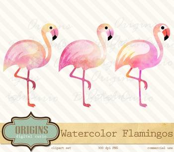 Pink Watercolor Flamingos