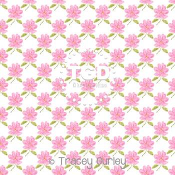 Pink Watercolor Flower Pattern Repeat on White digital paper Printable