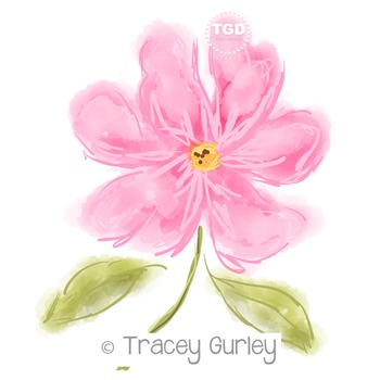 Pink Watercolor Flower - Pink Flower Printable Tracey Gurley Designs