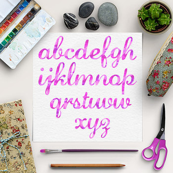Pink Watercolor Font - Lower Case Letters {Pretty ABC's}
