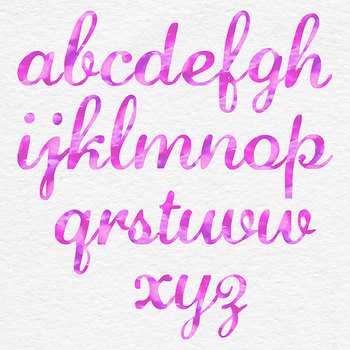 Pink Watercolor Font - Lower Case Letters