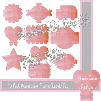 Frame Label Tag Clipart - Pink Watercolor