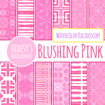 Pink Watercolor Kalidoscope Backgrounds / Digital Papers Clip Art